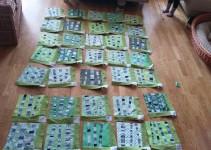 ausgelegte Blöcke vor dem Nummerieren