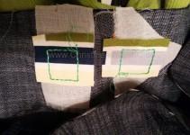 Ösenstellen hinterlegt mit Vlieseline und Canvas